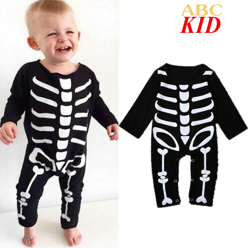 Black Long Sleeve Baby Clothes Pattern Skeleton Jumpsuit Onesie Baby Infants Romper Toddler Sleepwear Rompers KD323