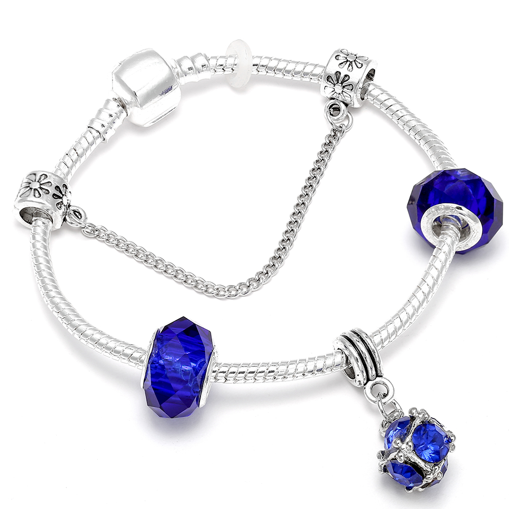 Blue Water Drop Charm Bracelet & Bangle Silver Color Original Pandora Bracelets Fit DIY Women Gifts Accessories