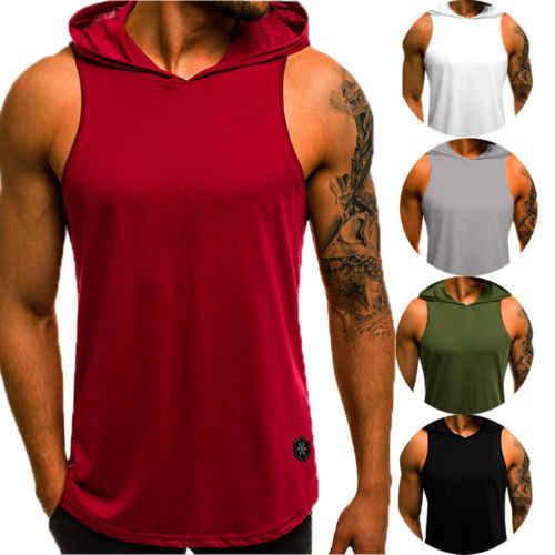 Neue 2018 Mode Männer Sleeveless Plain Solid Hoodie Fitness Pullover Ärmel Sweatshirt