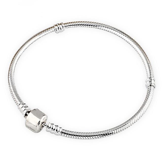 Authenetic 925 Sterling Silver Bracelet Snake chain Lobster Clasp Basic Bracelet Bangle Fit Women Bead Charm DIY Pandora Jewelry