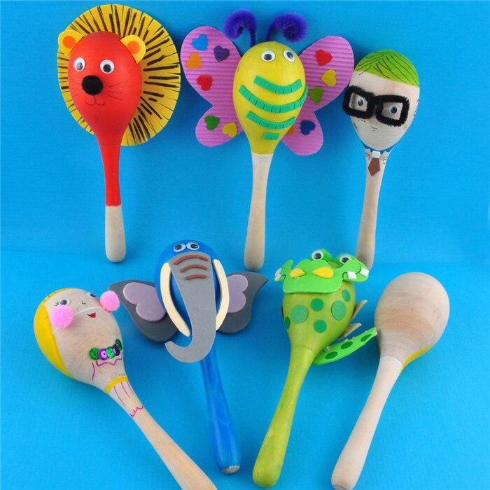 6 шт./партия. краски ваш собственный маракасы новые детские подарки Детские погремушки Незаконченный деревянные игрушки детские игрушки Раннее развивающие игрушки детский сад Art