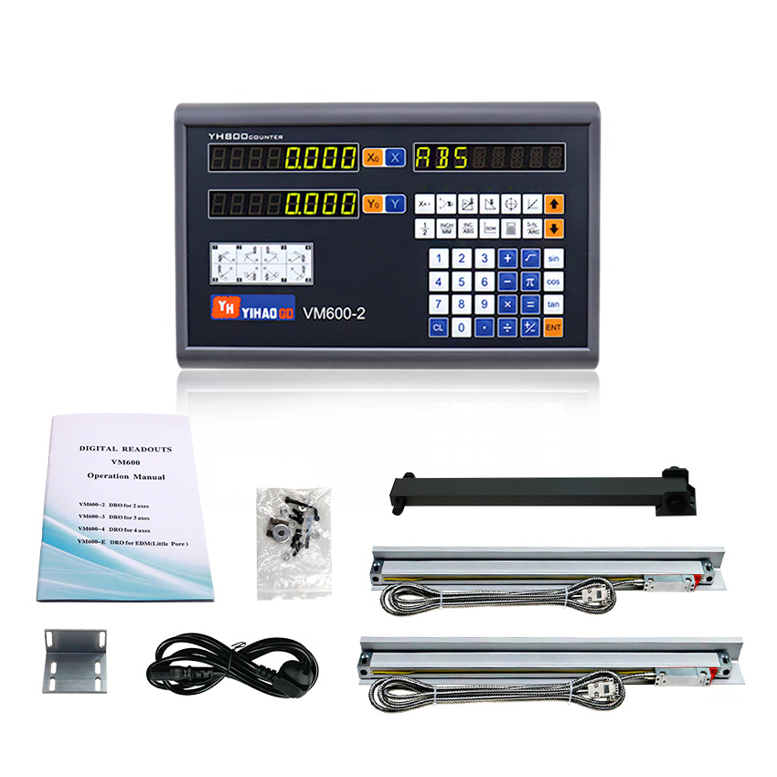 Rulers and Control Unit 2 Axis Dro Kit and 2 PCS 5u Linear Scales 100 200 300 400 500 600 700 800 900 1000 for Lathe Machines
