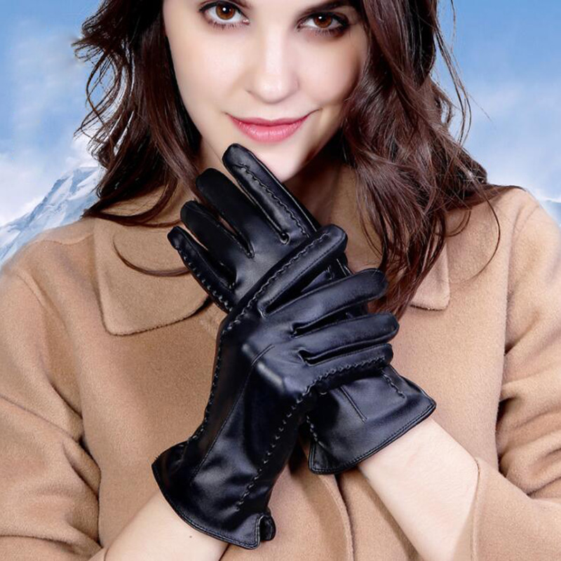 Autumn Winter Sexy Women PU Leather Thickened Touch Screen Warm Full Fingers Windproof Driving Waterproof Gloves Mittens S36