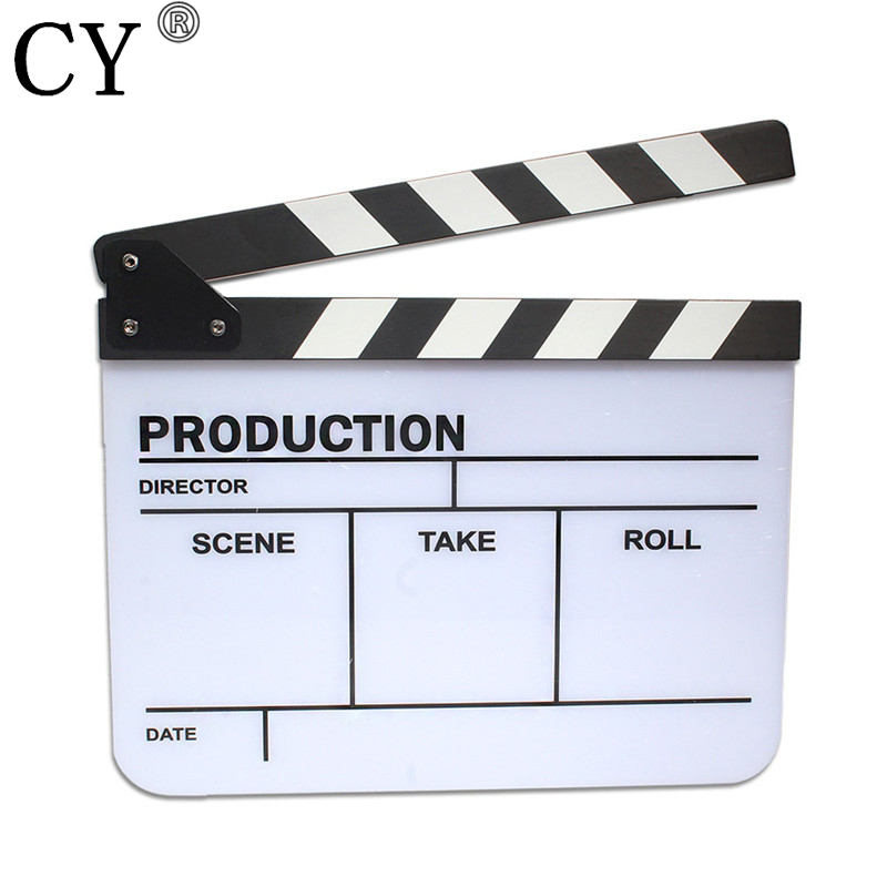 Photo Video Studio Acrylic Clapper Board English Black & White Clapperboard TV Movie Film Action Clapperboard Slate