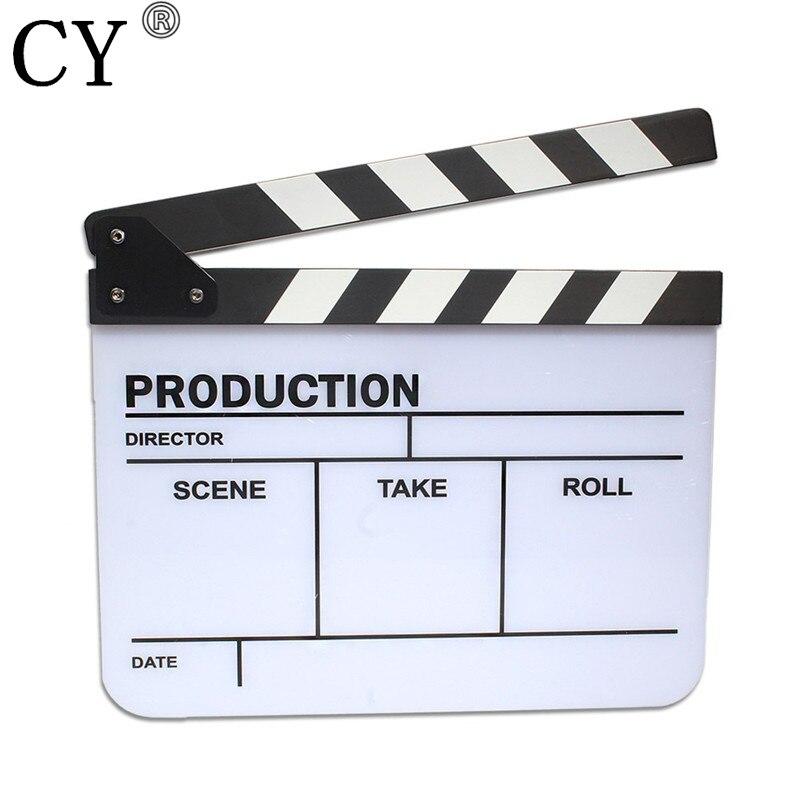Photo Video Studio Acrylic Clapper Board English Black & White Clapperboard TV Movie Film Action Clapperboard Slate
