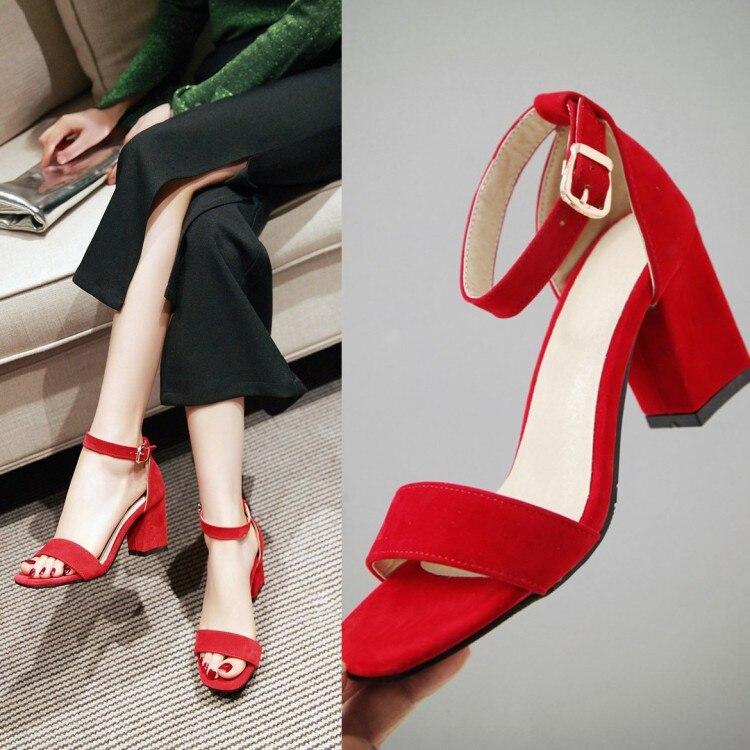 Ankle Strap Flock Women Sandals Pointed Toe Heels Women Summer Shoes Red Black High Heels 7cm Ladies Gladiator Sandals Big Size