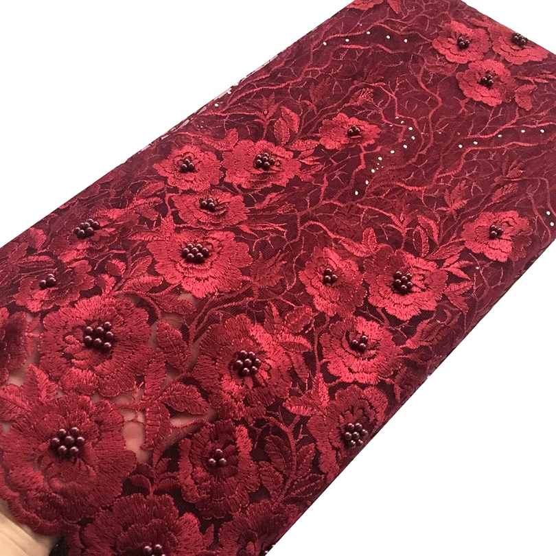 Wine beaded lace fabric high quality french tulle net lace fabric for wedding stones black african lace fabrics 2018 in Lace from Home Garden
