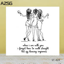 AZSG Drinking Dancing Fashion Girl Clear Stamps/Seals For DIY Scrapbooking/Card Making/Album Decorative Silicone Stamp Crafts