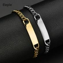 Eleple Stainless Steel Mens Bracelet Korean Exquisite Lettering Customized Family Name Lover Bracelets Jewelry Factory S-B02
