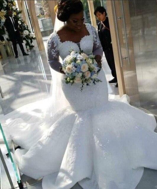 2021 PLUSขนาดแอฟริกาไนจีเรียBeach Mermaid Wedding Sweetheartลูกปัดแขนยาวชุดเจ้าสาวงานแต่งงานชุด