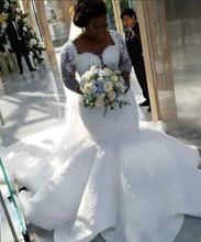 2021 Plus Size African Nigerian Beach Mermaid Wedding Dresses Sweetheart Sequined Beaded Long Sleeves Bridal Gowns Wedding Dress