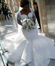 2021 più il Formato Africano, Nigeriano di Beach Sirena Abiti Da Sposa Sweetheart Paillettes In Rilievo Maniche Lunghe Abiti Da Sposa Abito Da Sposa