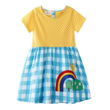 Jumping Meters Cotton Princess Dresses Baby Rainbow Clothing Summer Children's Dress 2019 Costume Kids Girls Dresses for Party jumping meters top brand dresses girls baby new clothing cotton striped applique animals princess autumn spring kids dress girl