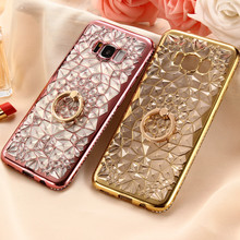 For Samsung S8 Case Luxury Gold 3D Diamond Clear Crystal Plating TPU Soft Cover For Samsung Galaxy S8 Plus S7 edge Phone Case