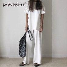 GALCAUR Casual T-shirt Trouser Women Two Piece Set Short Sleeve Loose T-shirts High Waist Wide Leg Pants Suits 2020 Summer цена и фото