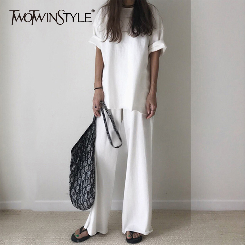 TWOTWINSTYLE Casual T-shirt Trouser Women Two Piece Set Short Sleeve Loose T-shirts High Waist Wide Leg Pants Suits 2019 Summer