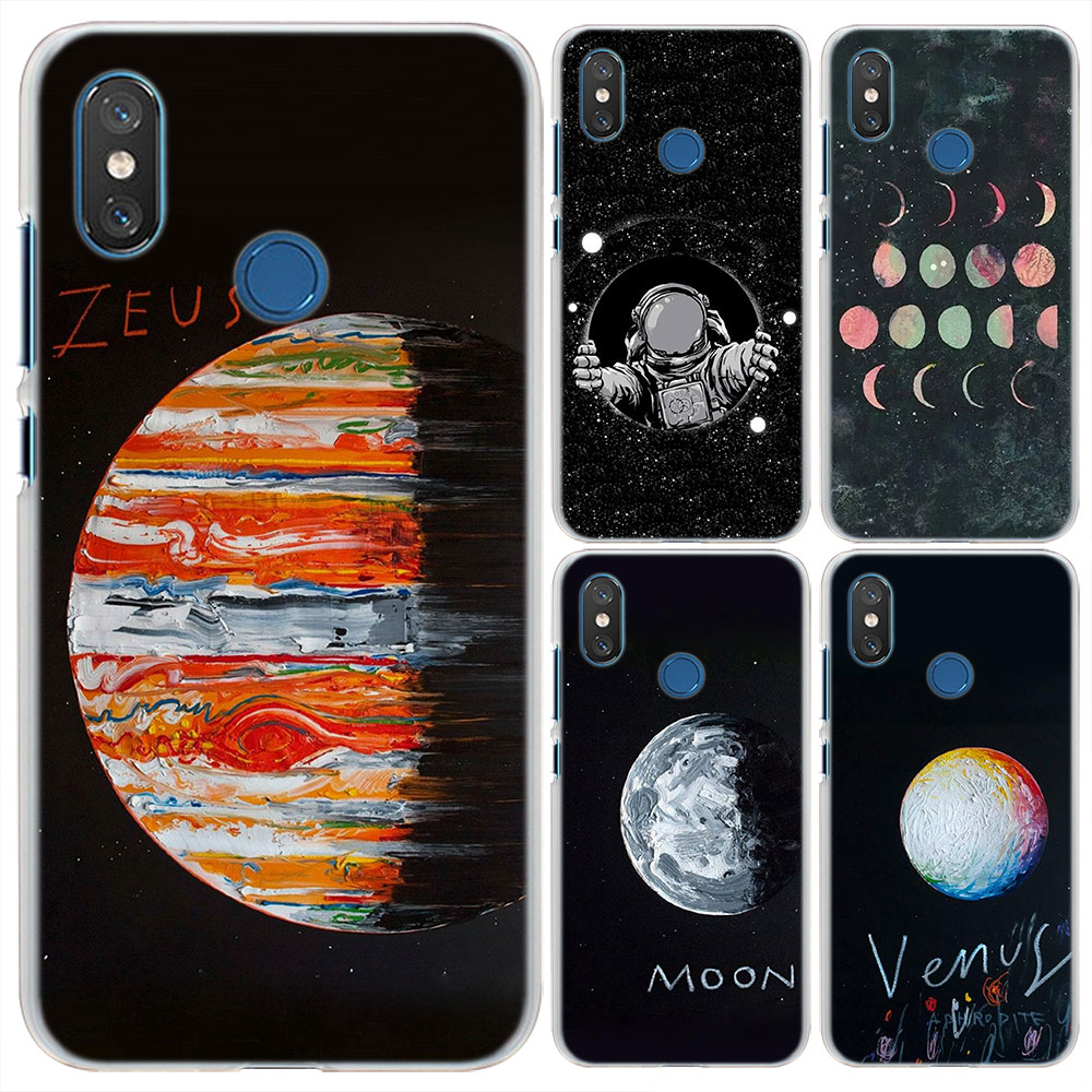a1 6x Space Moon Astronaut Pattern Transparent Hard Phone Cases Cover For Xiaomi Mi 5x 8 Se For Redmi S2 4x 5a 5 Plus 6 6a a2