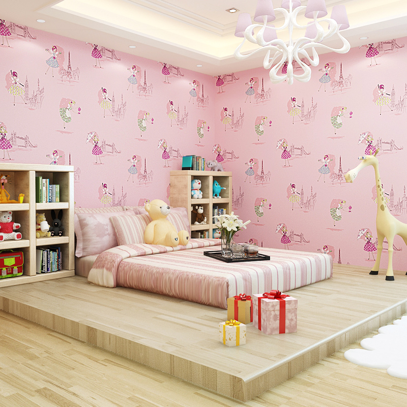Modern cartoon lovely wallpaper roll for walls,living room/bedroom of 4 colour chose wall paper,papel de parede roll
