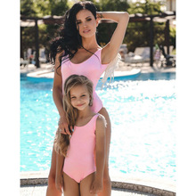 hot deal buy 2019 mother and daughter bikini family matching outfits mommy and me swimwear clothes family look bath swimsuit dresses clothing