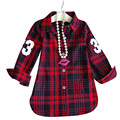 2017 New Fashion Children Girls Casual Long Sleeves Red Plaid Shirt Blouse Baby Girls Plaid Cotton Clothes Girls Wear