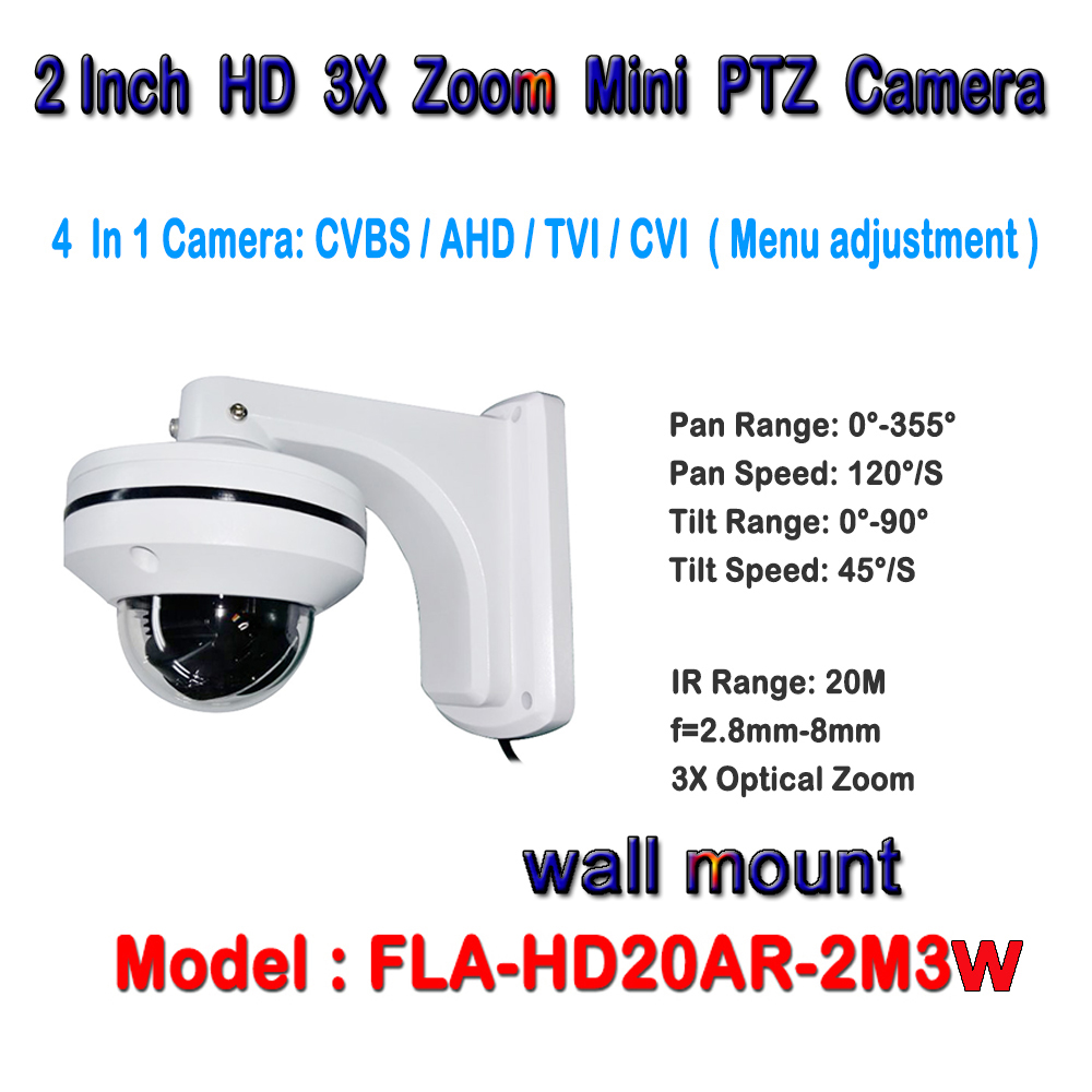 1920*1080 HD 2MP Waterproof IP66 2.8-8mm Lens CCTV 1080p 2inch Mini PTZ AHD/CVI/TVI/CVBS Speed Dome Camera with wall bracket 1080p ptz dome camera cvi tvi ahd cvbs 4 in 1 high speed dome ptz camera 2 0 megapixel sony cmos 20x optical zoom waterproof