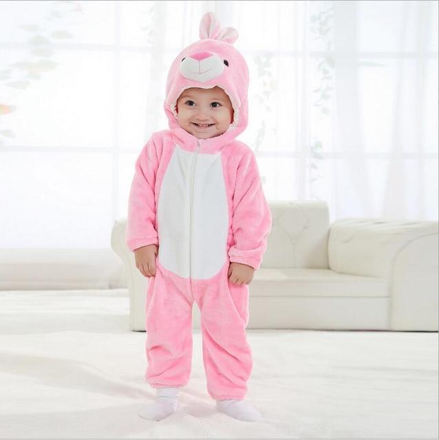 Menina roupa do bebê recém-nascido romper roupa dos miúdos unissex coelho rosa bonito Dos Desenhos Animados Macacão macacão bebe ropa bebe Pijama inverno YJY