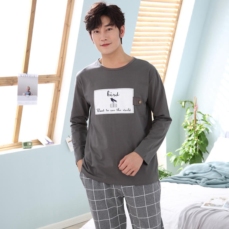 2018 Autumn Winter Cotton Pajama Set For Men Long Sleeve Cartoon Pyjama Casual Plaid Pants Homewear Male Loungewear Home Clothes