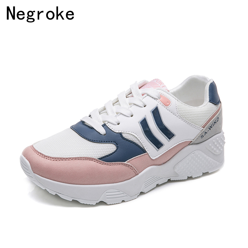 2018 Fashion Sneakers Women Flat Casual Shoes Woman Spring Summer Lightweight Lace Up Flats Ladies Walking Shoes Tenis Feminino цена