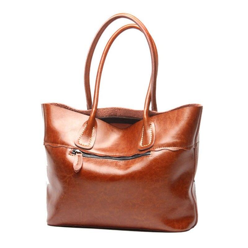 2318a931d4 AMONCHY 100% Genuine Leather Women Bags Vintage Cowhide Handbags Female  Shoulder Bags Natural Skin Bag Imported Lady Tote Bag 75