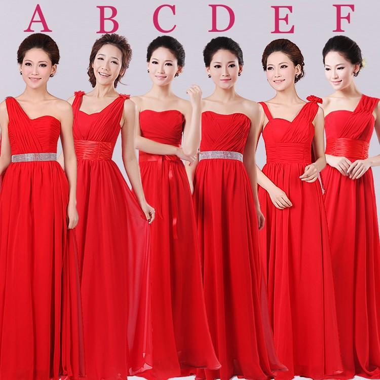 Popular Bridesmaid Dresses Red Long-Buy Cheap Bridesmaid Dresses ...