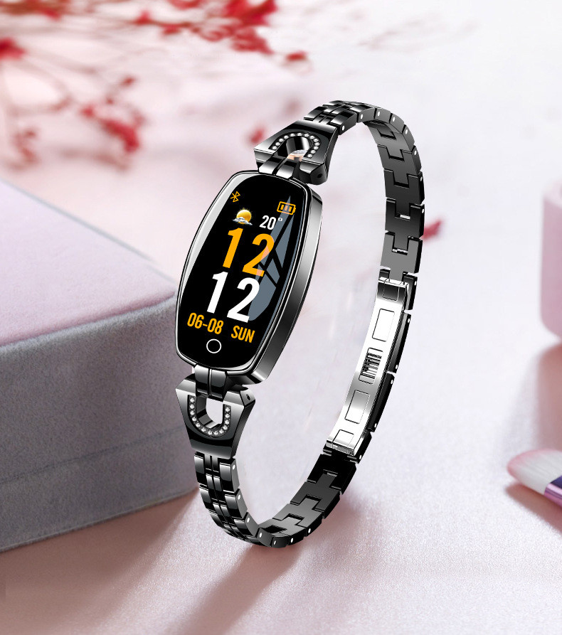 H8 HR Smartwatch Women Lady Smart Watch Bracelet Fashion Wear Stainless Steel Strap Jewel Watch Business Formal Color Screen 11.9 (24)