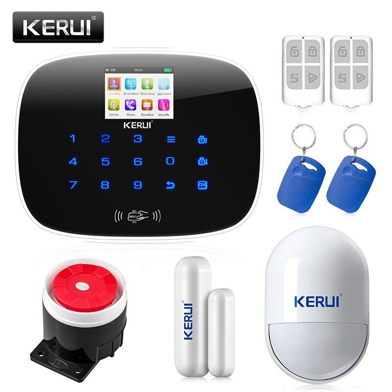 Kerui g19 дома охранной сигнализации 8 независимых зон совместимы с пожарной детектор дыма wi-fi ip-камера gsm охранная сигнализация