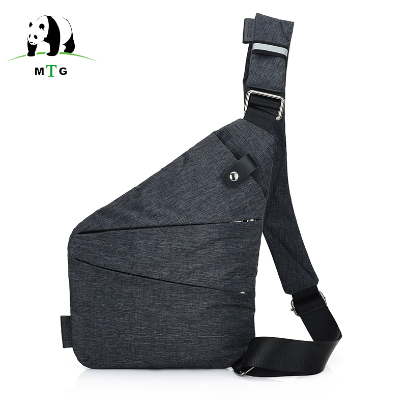 Large Capacity Anti-Theft Mens Messenger Bag Sling Shoulder Bags Black Men Hidden Chest Pack Mens Retro Crossbody Bag Cool Male