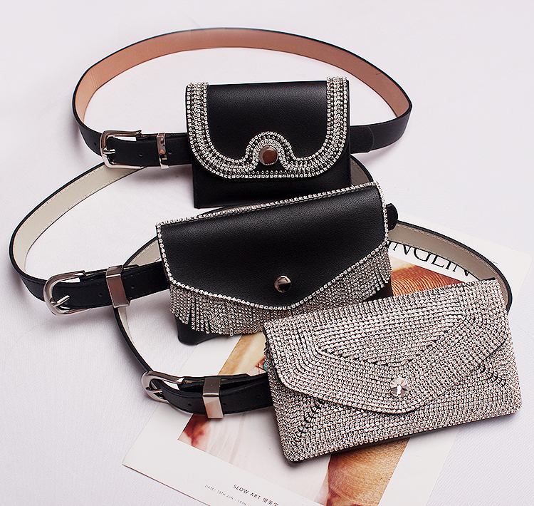 Glitter Full Diamond Waist Bag New Fashion Dark Buckle Pu Leather Belt Pockets Belt Ladies Dual-use Three Optional Tide Bag 729