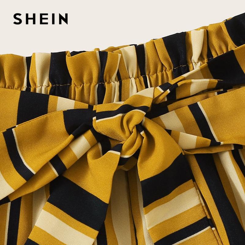 SHEIN Paperbag Waist Self Belted Striped Shorts 2019 Summer Elastic Waist Shorts Boho Ginger High Waist