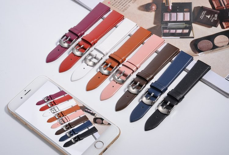 Wholesale&Retail Ultra Thin Genuine Leather Strap Watch Band Buckle Black/red/purple/pink/brown/white Size 12/14/16/18/20/22mm zury ultra twin 10 12 14 16 18 100