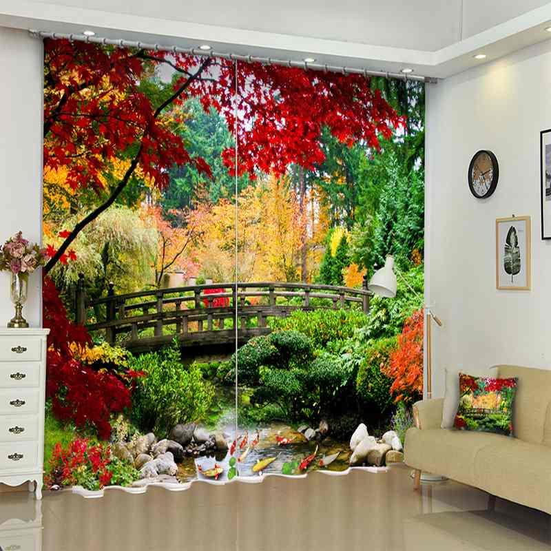 1 ensemble rideau occultant automne arbre Bridage image 3D impression fenêtre rideaux rideaux pour salon chambre hôtel mur tapisserie