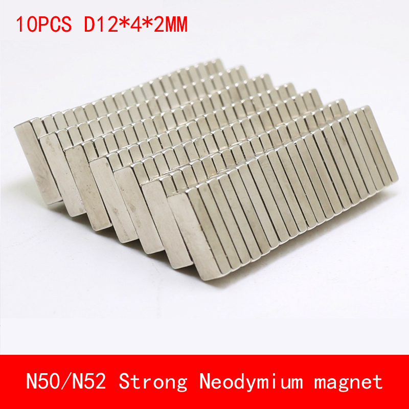 10PCS 12 4 2mm N50 N52 Strip strong permanent Neodymium Magnet surface paint nickle fridge magnet in Magnetic Materials from Home Improvement
