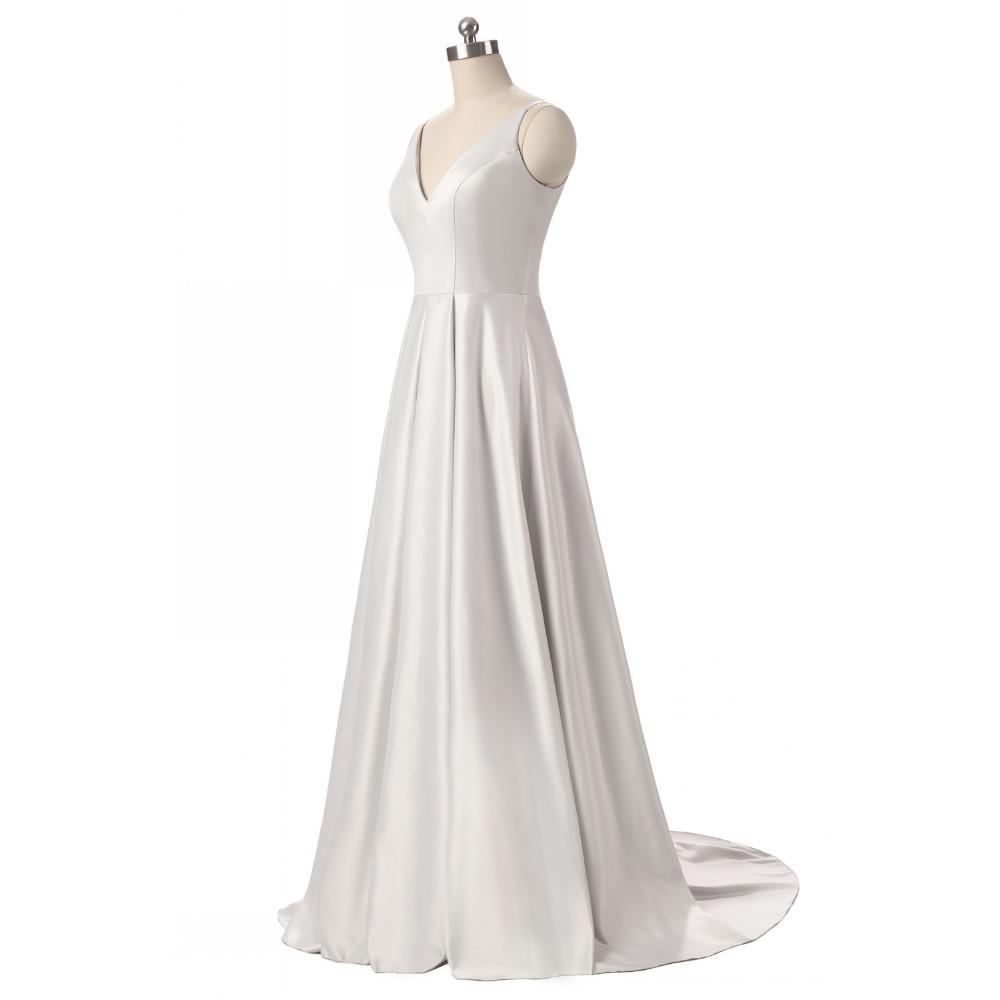 Elegant V-Neck Pleat Satin Long Evening Dress 4