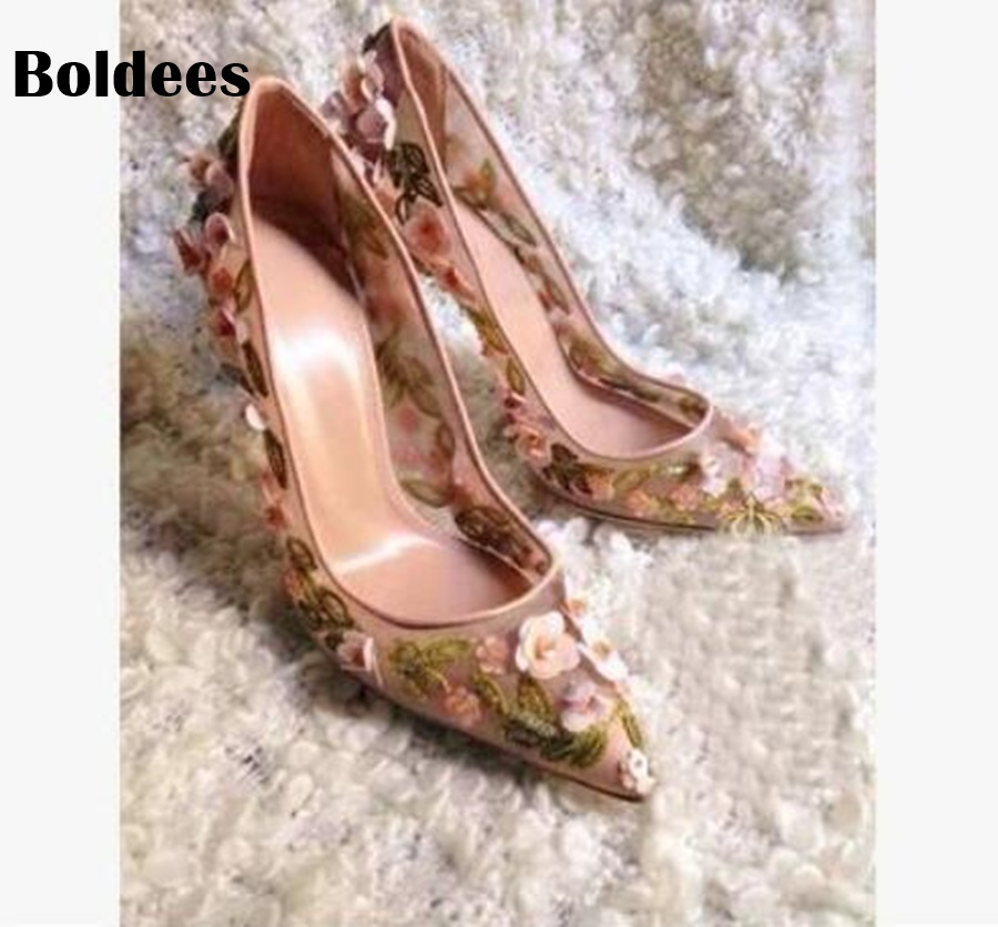 New arrival fashion point toe pumps women flowers High Heels wedding pumps thin heel sexy Flora stud bridal party shoes