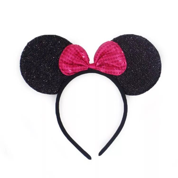 12pcs Hair Accessories Mickey Minnie Mouse Ears Solid Black Colorful Bows Headband for Boys Girls Birthday Party Celebrations in Party Favors from Home Garden