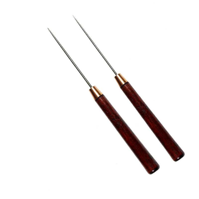 2PCS Carp Fishing Rigging Needle Drilling Tools Fly Tying Bodkin Glue Applying Hook Eye Cleaner  Wood Handle Floating