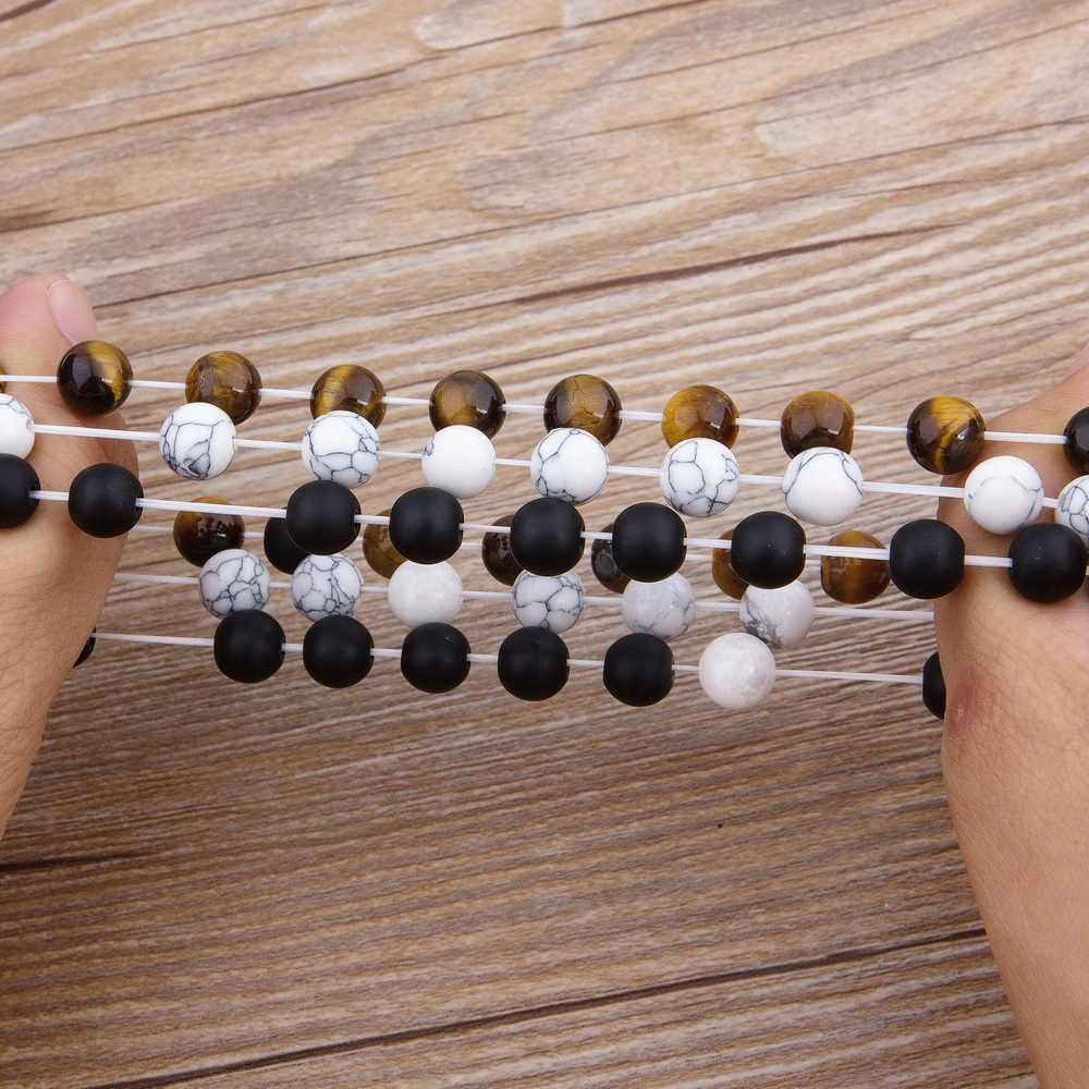 Xqni fosco onyx pedra & tiger eye combinação costura com zircão cúbico mão jóias contas pulseira elástico estiramento masculino pulseira