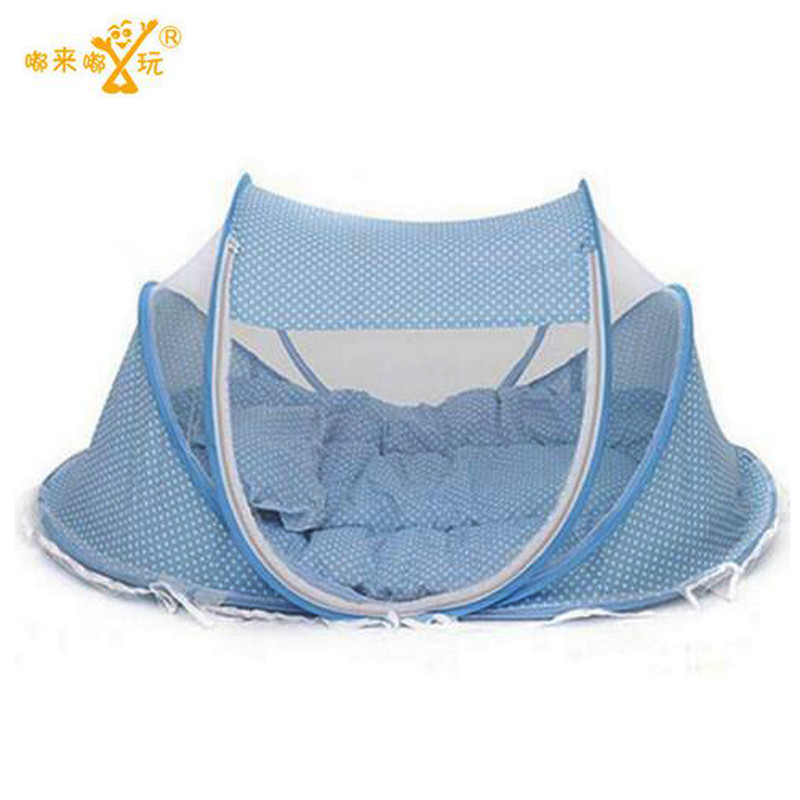 ФОТО New Spring Winter 0-36 Months Baby Bed Portable Foldable Baby Crib With Netting Newborn Sleep Bed Travel Bed Baby Cotton Blend