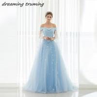 Винтаж светло-голубой свадебное платье с накидкой Vestido De Noiva Кружево аппликация длинный Тюль Линия Дешевые Свадебные платья