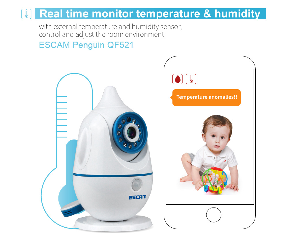 ESCAM 720P App Remote Control Wireless WIFI Baby Monitor