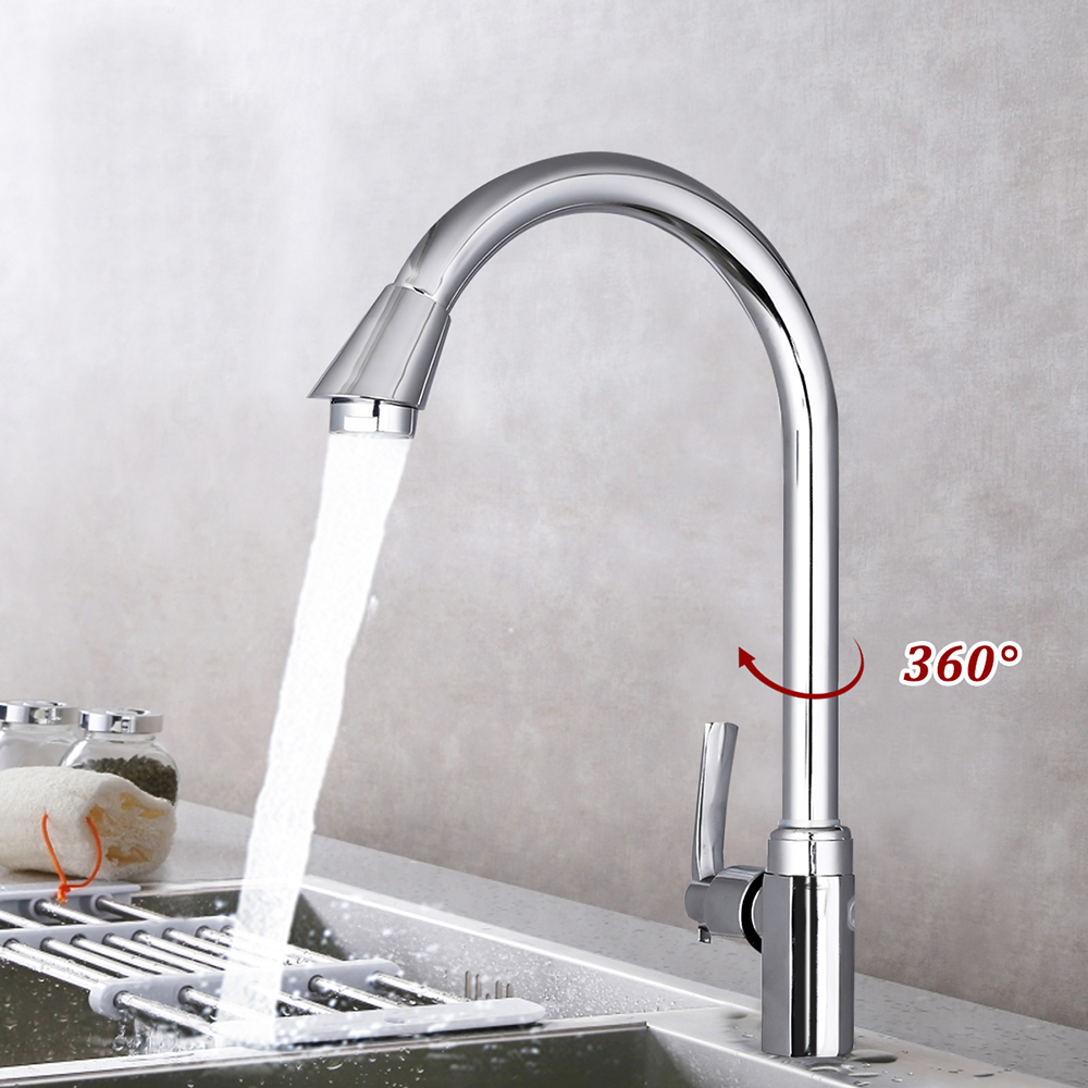 Kitchen Faucets Silver Single Handle Pull Out Kitchen Tap Single Hole Handle Swivel 360 Degree Water Mixer Tap Faucets