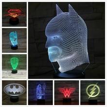 Dc Justice League Usb 3d Led Night Light Superhero batman superman the flash Wonder Woman Aquaman two face Joker Table Lamp все цены