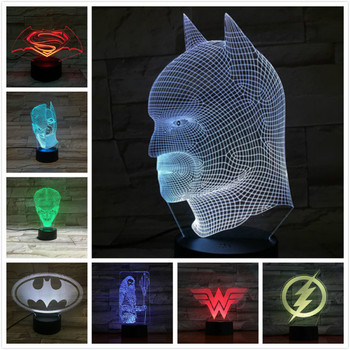 цена Dc Justice League Usb 3d Led Night Light Superhero batman superman the flash Wonder Woman Aquaman two face Joker Table Lamp онлайн в 2017 году