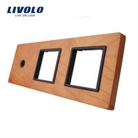 Free Shipping Livolo Cherry Wood Panel 223mm 80mm EU Standard 1Gang 2 Frame Wood Panel VL